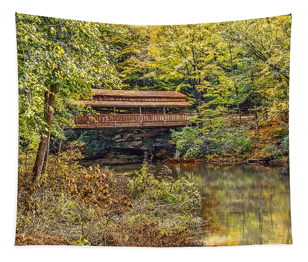 Lantermand Falls Covered Bridge Tapestry featuring the photograph Lanterman Falls Covered Bridge by Dale Kincaid