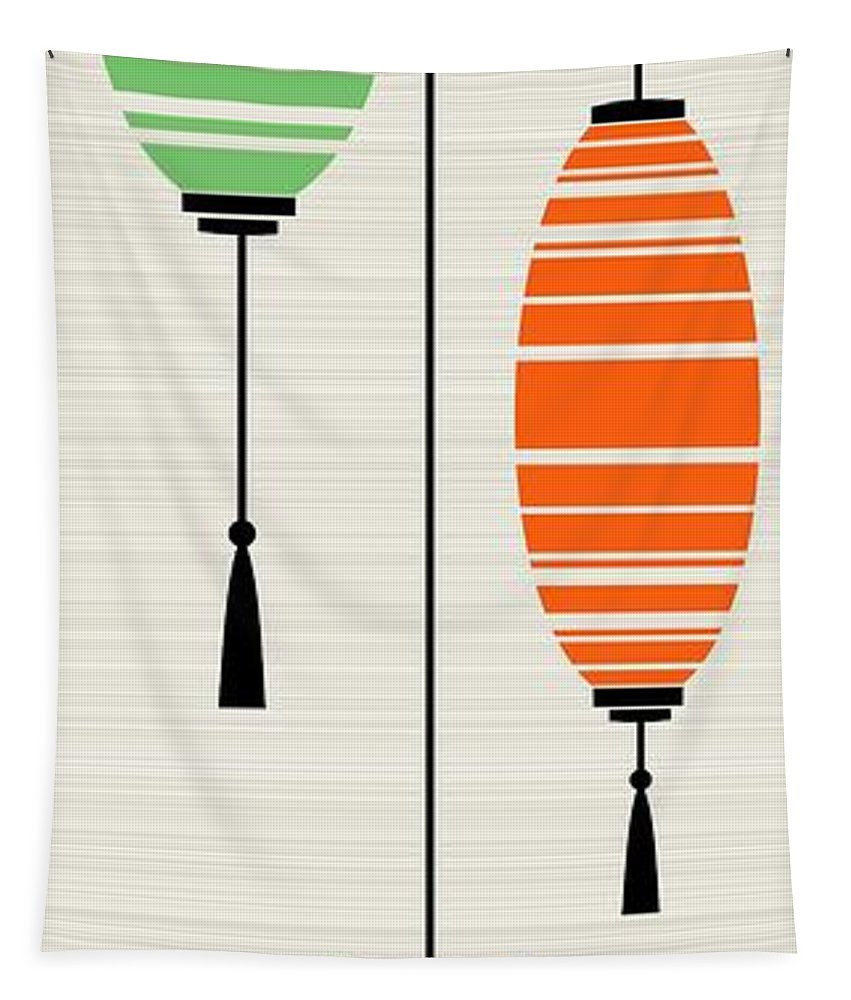 Mid Century Modern Tapestry featuring the digital art Lanterns 1 by Donna Mibus
