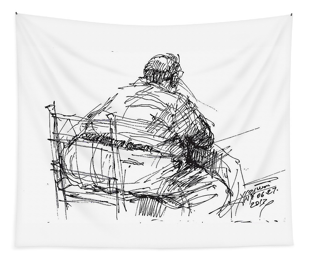 Big Man Tapestry featuring the drawing Large Guy by Ylli Haruni