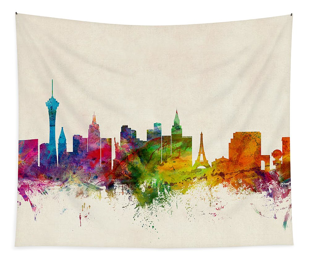 City Tapestry featuring the digital art Las Vegas Nevada Skyline by Michael Tompsett