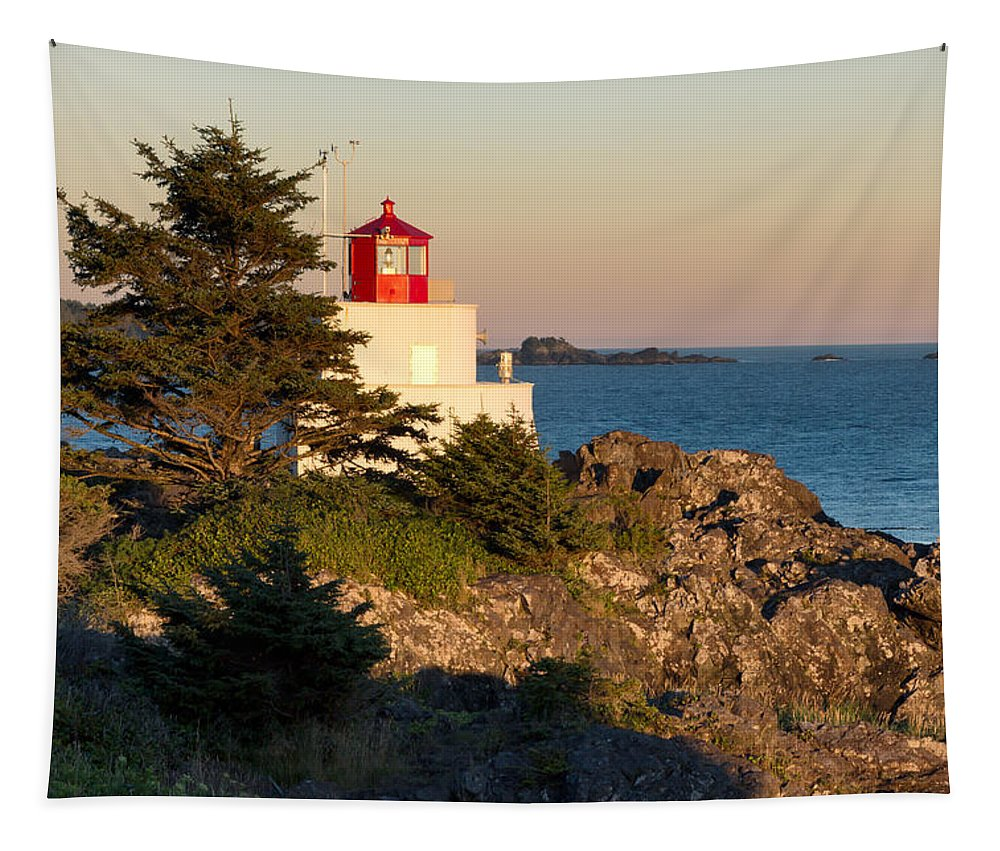 Ucluelet Tapestry featuring the photograph Last Light On Amphritite Lighthouse by Kathleen Bishop