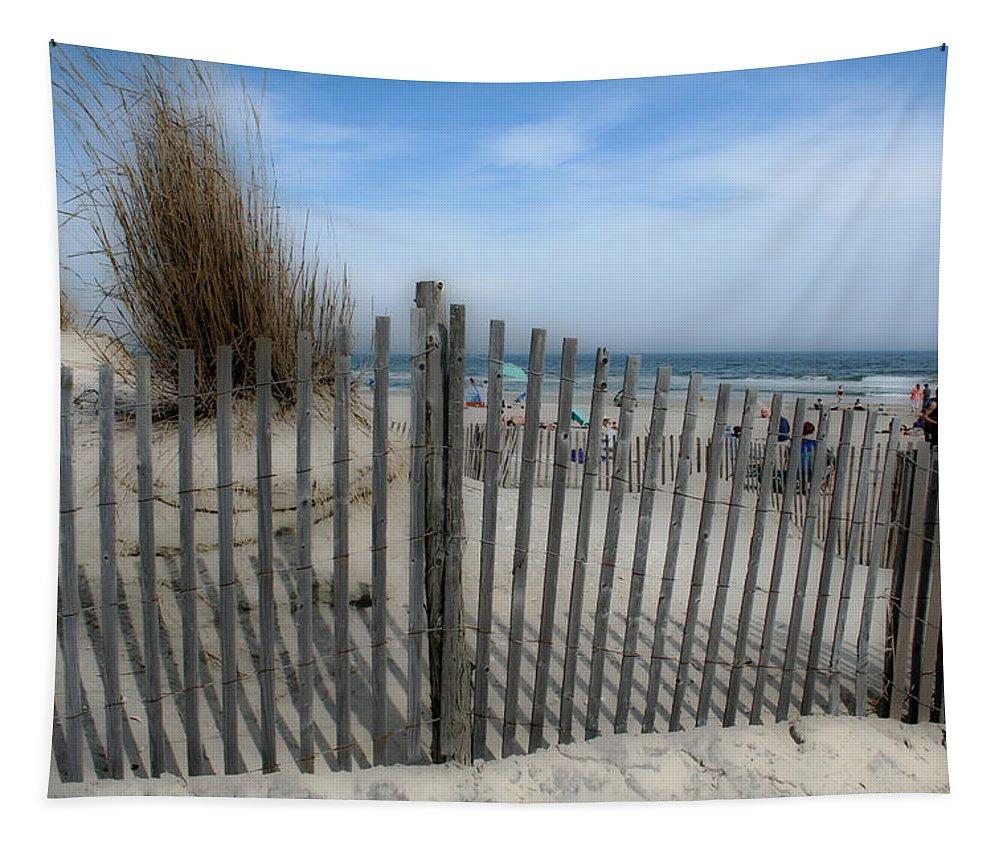 Landscapes Beach Art Sand Art Fence Wood Sky Blue Summertime Ocean Tapestry featuring the photograph Last Summer by Linda Sannuti