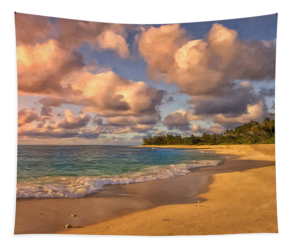 Sunset Beach Tapestry featuring the painting Late Afternoon at Sunset Beach by Dominic Piperata
