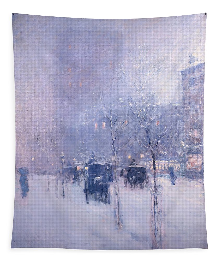 Painting Tapestry featuring the painting Late Afternoon - New York Winter by Mountain Dreams