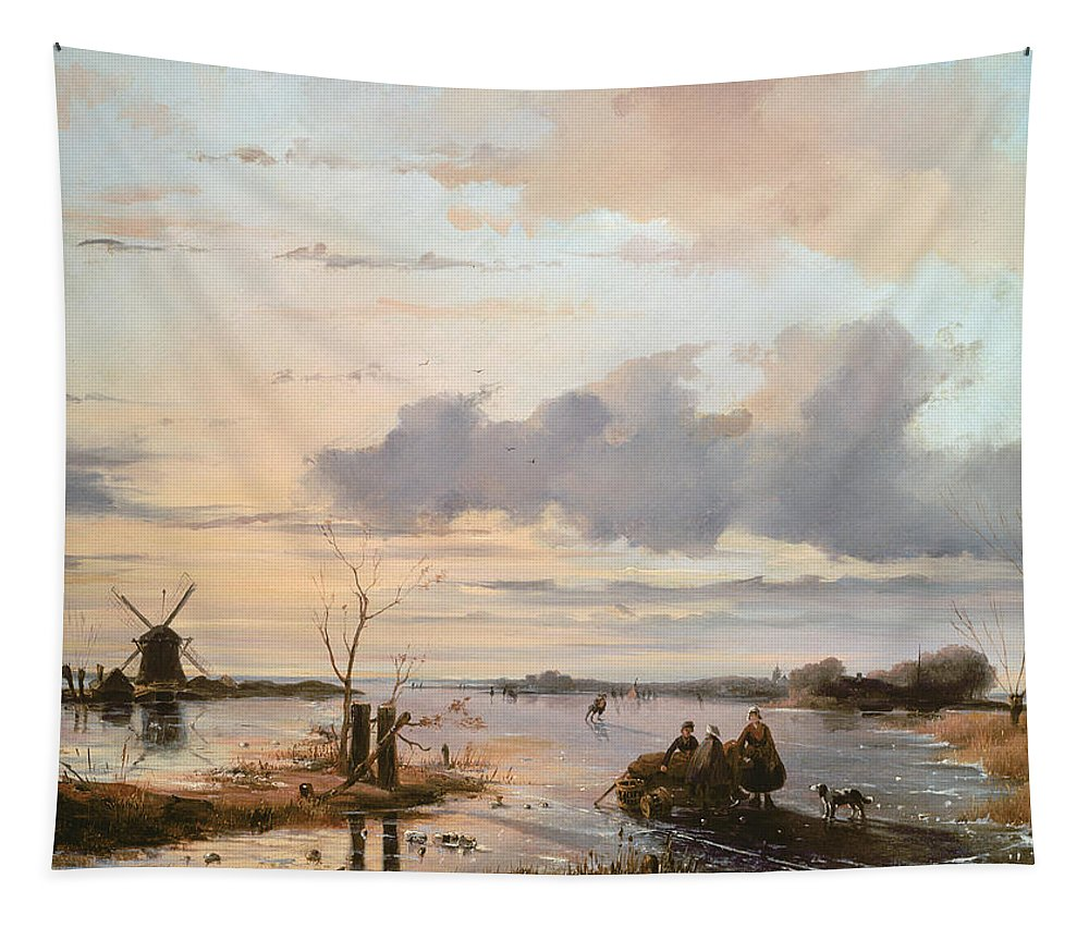 Windmill Tapestry featuring the painting Late Winter In Holland by Nicholas Jan Roosenboom