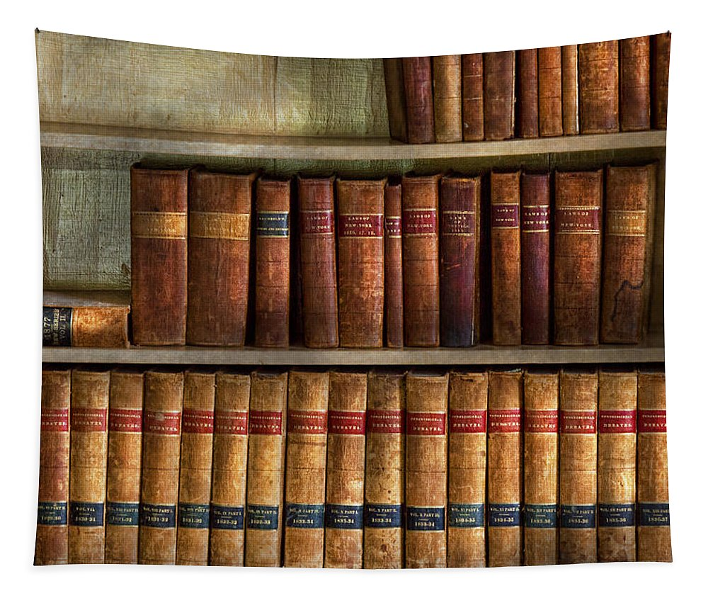 Savad Tapestry featuring the photograph Lawyer - Books - Law Books by Mike Savad