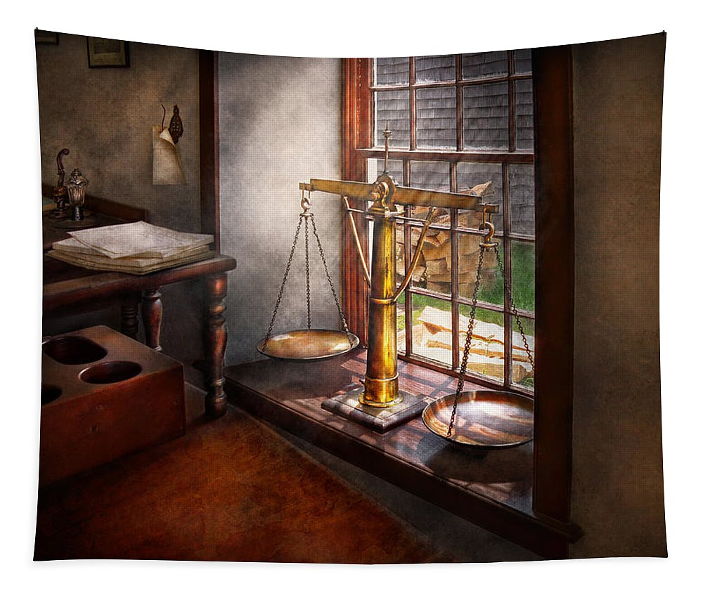 Hdr Tapestry featuring the photograph Lawyer - Scales Of Justice by Mike Savad