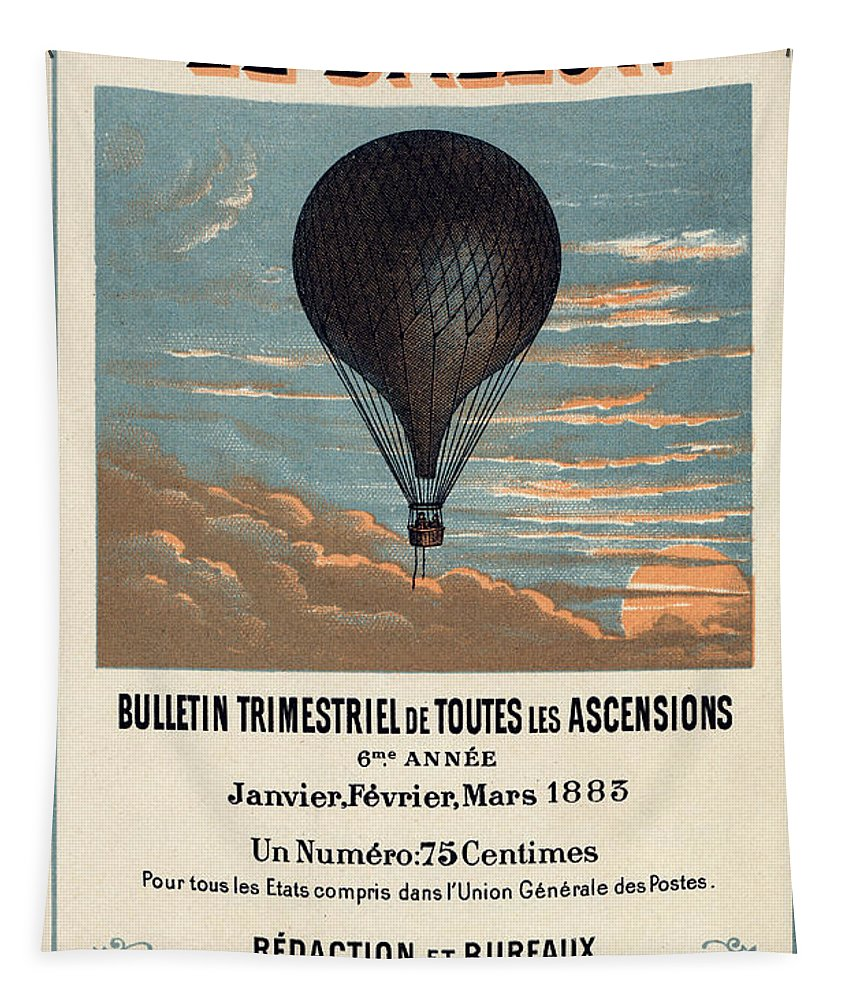 Vintage Tapestry featuring the digital art Le Ballon advertising for French aeronautical journal by Georgia Fowler