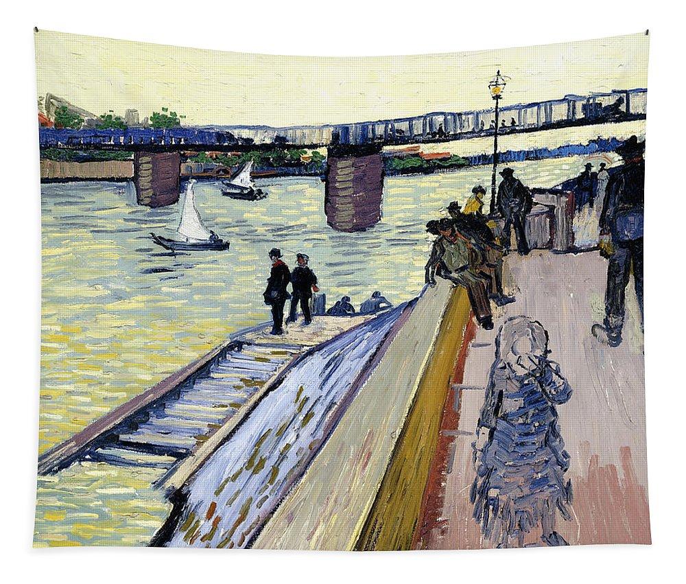 Vincent Van Gogh Tapestry featuring the painting Le Pont De Trinquetaille by Vincent van Gogh