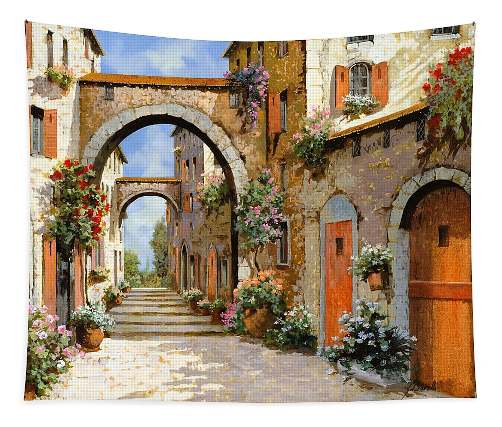 Landscape Tapestry featuring the painting Le Porte Rosse Sulla Strada by Guido Borelli