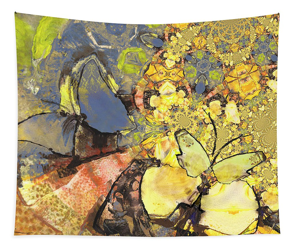 Butterflies Tapestry featuring the painting Le Printemps Des Papillons by Miki De Goodaboom