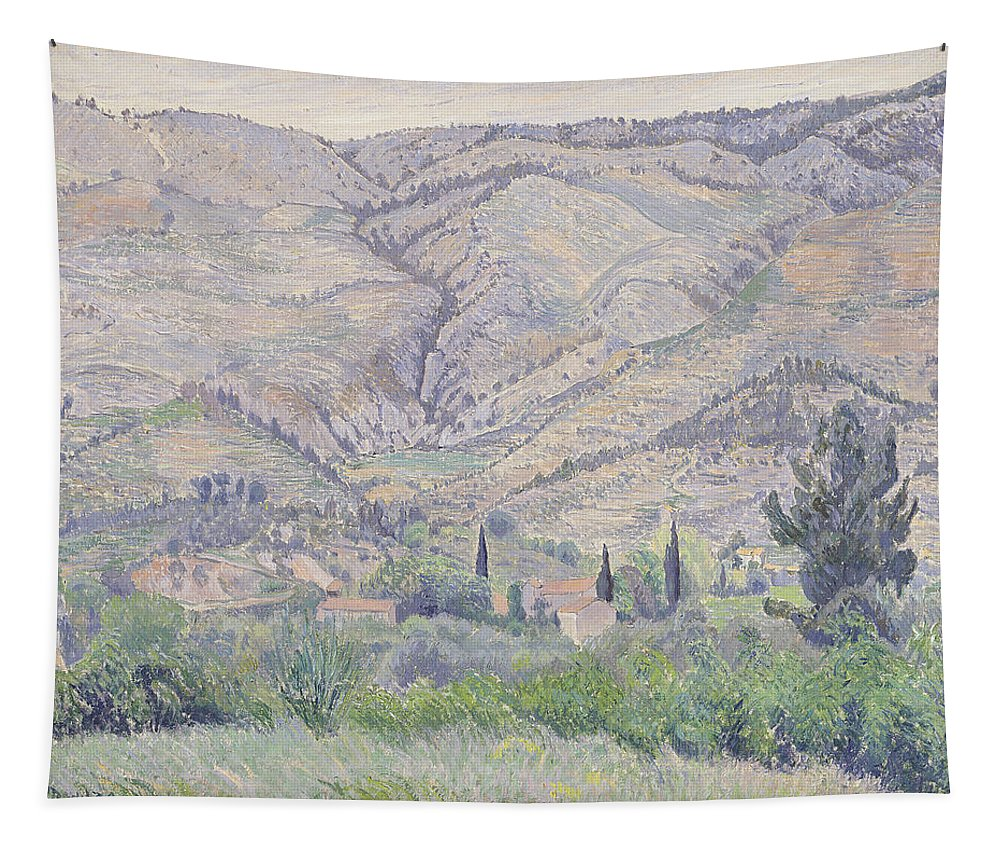 French Landscape Tapestry featuring the painting Le Ragas, Near Toulon, 1930 by Camille Pissarro
