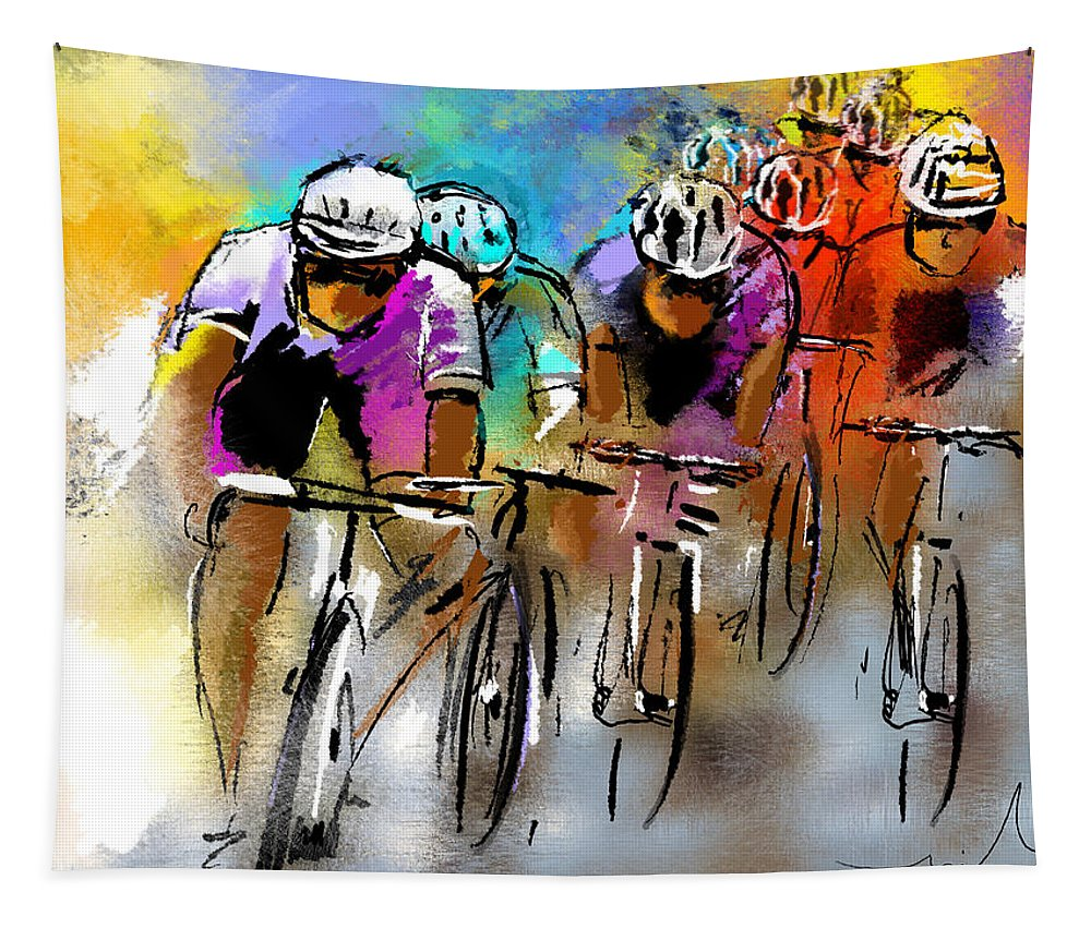 Sports Tapestry featuring the painting Le Tour De France 03 by Miki De Goodaboom