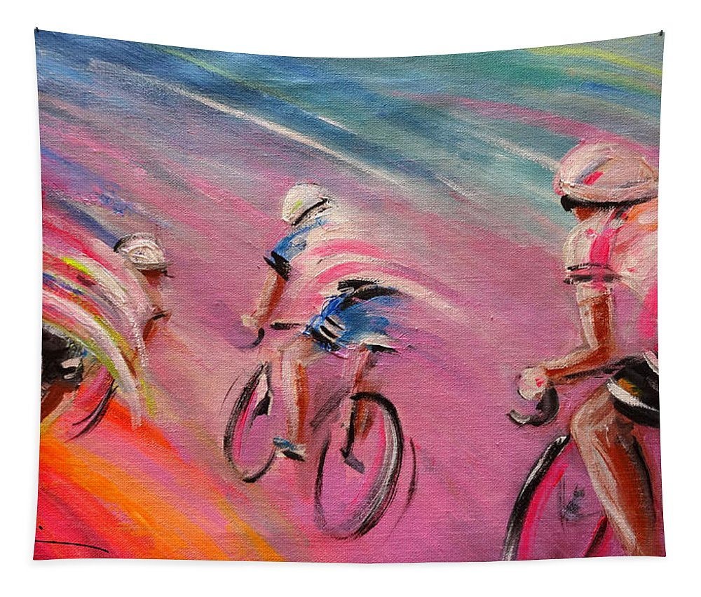 Sports Tapestry featuring the painting Le Tour De France 16 Acrylics by Miki De Goodaboom