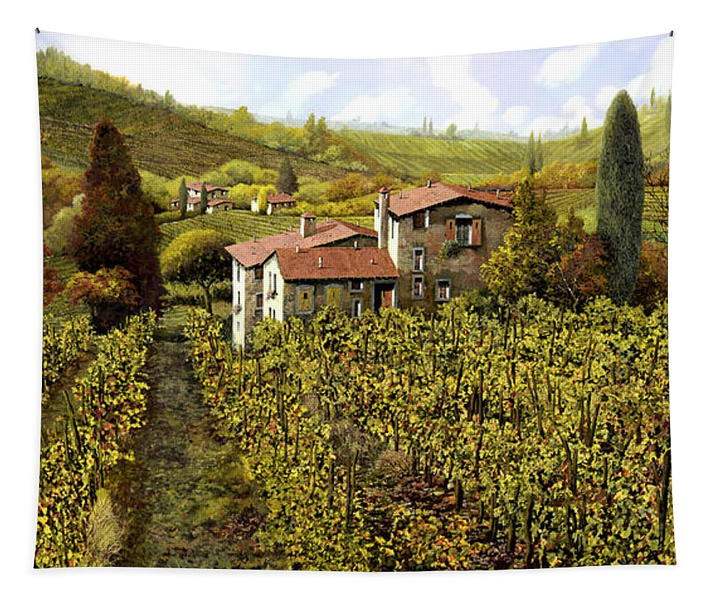 Vineyard Tapestry featuring the painting Le Vigne Toscane by Guido Borelli