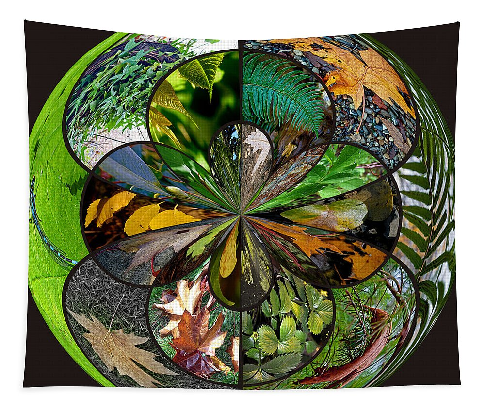 Variety Tapestry featuring the photograph Leaf Collage Orb by Tikvah's Hope