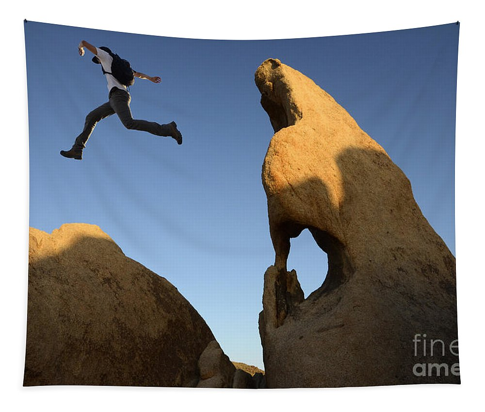 Leap Tapestry featuring the photograph Leap Of Faith by Bob Christopher