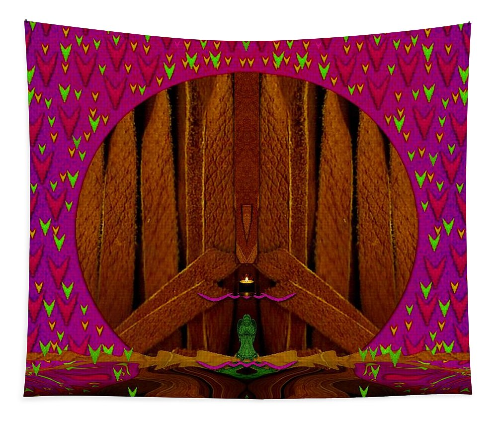 Island Tapestry featuring the mixed media Leather Peace Island Collage by Pepita Selles