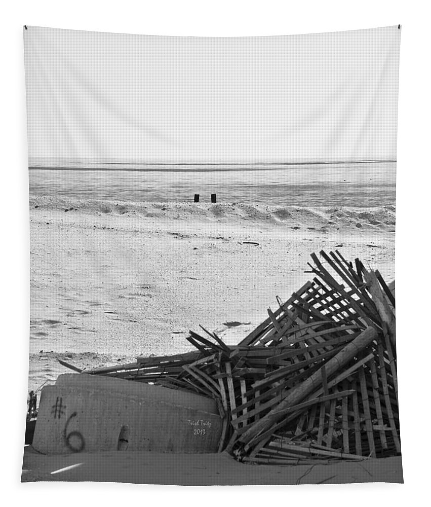 Black And White Tapestry featuring the photograph Leftovers From Hurricane Sandy by Trish Tritz