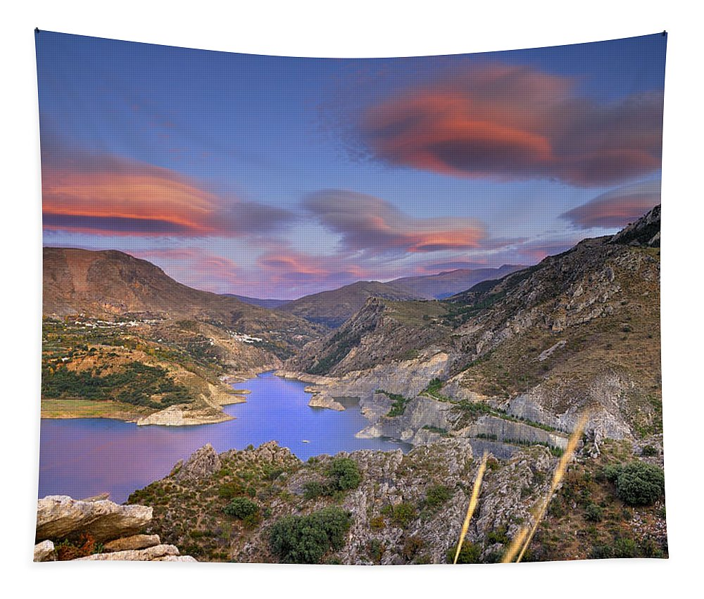 Sunset Tapestry featuring the photograph Lenticular Clouds At The Red Sunset by Guido Montanes Castillo