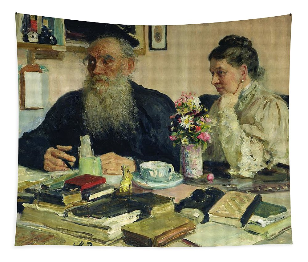 Husband; Male; Female; Couple; Elderly; Table; Books; Candle; Beard; Tea Cup; Flowers; Vase; Home; Peredvizhniki; Peredvizhniki Group Tapestry featuring the painting Leo Tolstoy With His Wife In Yasnaya Polyana by Ilya Efimovich Repin