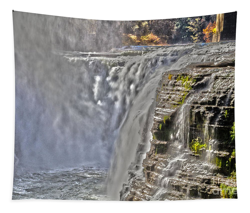 Letchworth Tapestry featuring the photograph Letchworth Falls by William Norton