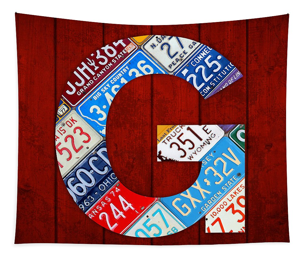 Letter Tapestry featuring the mixed media Letter G Alphabet Vintage License Plate Art by Design Turnpike