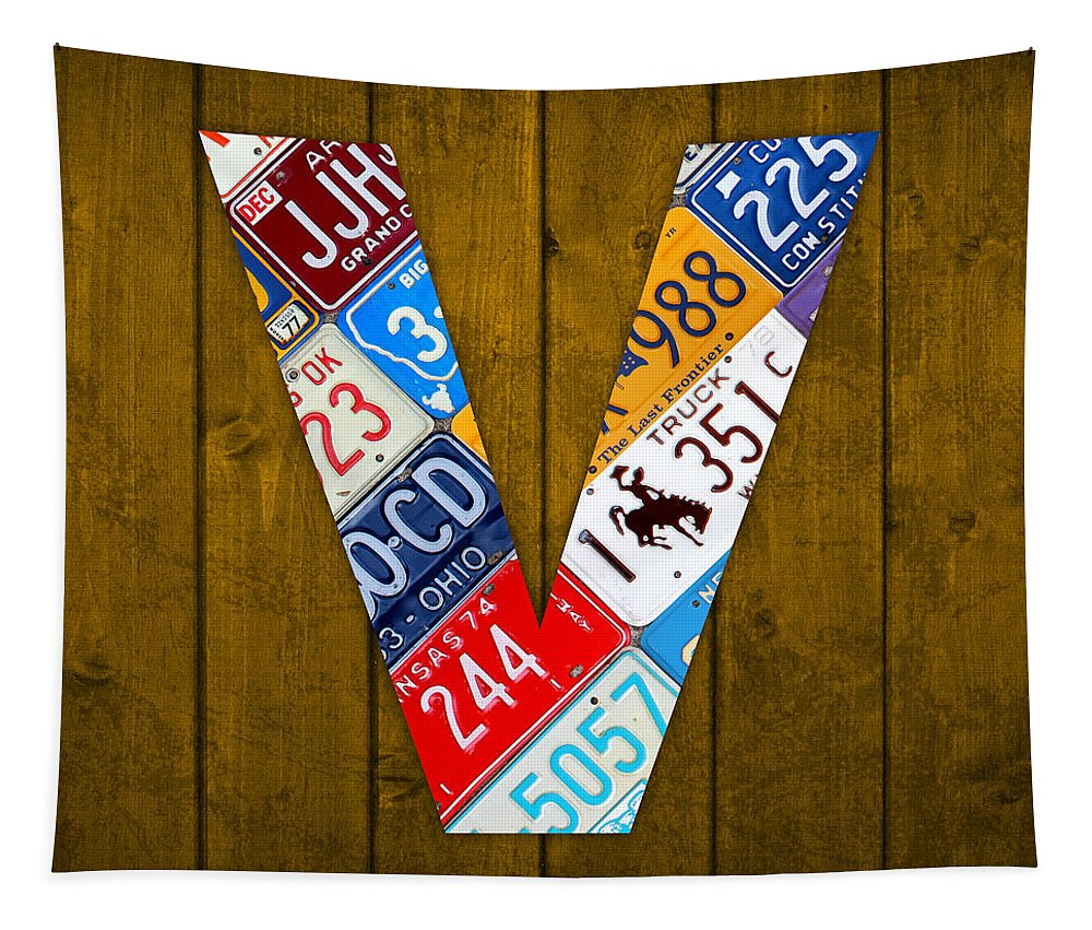 Letter Tapestry featuring the mixed media Letter V Alphabet Vintage License Plate Art by Design Turnpike