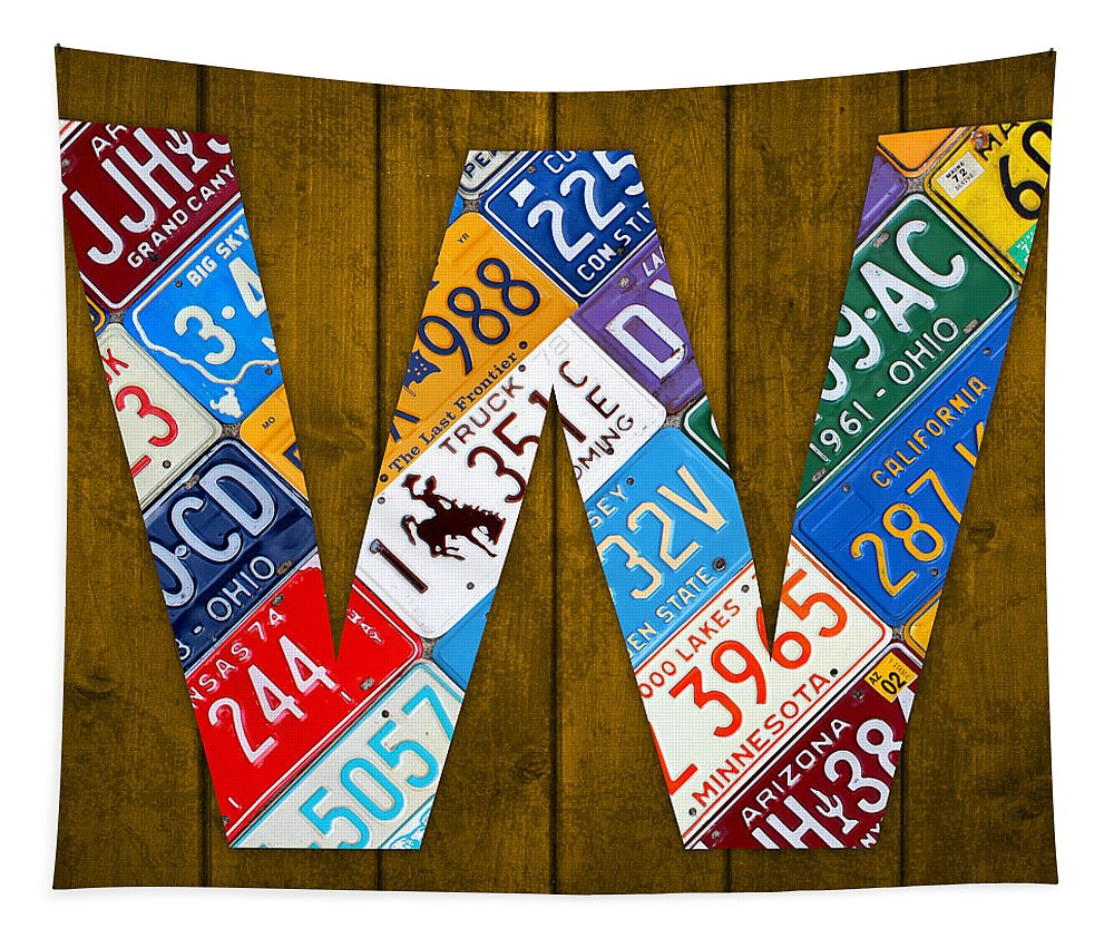Letter Tapestry featuring the mixed media Letter W Alphabet Vintage License Plate Art by Design Turnpike