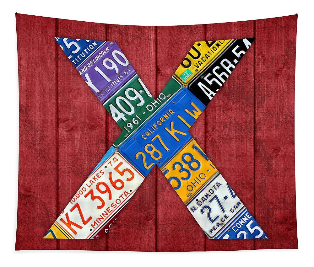 Letter Tapestry featuring the mixed media Letter X Alphabet Vintage License Plate Art by Design Turnpike