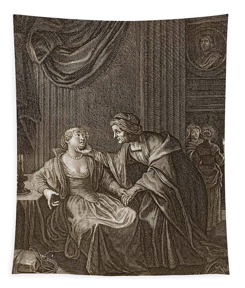 Seducing Tapestry featuring the drawing Leucothoe Seduced By Apollo by Bernard Picart