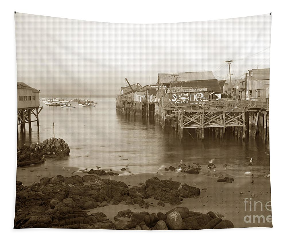 Lewis Fish Tapestry featuring the photograph Lewis Fish Market Selected Fresh Fish And Swains Fish Market Monterey 1929 by California Views Archives Mr Pat Hathaway Archives