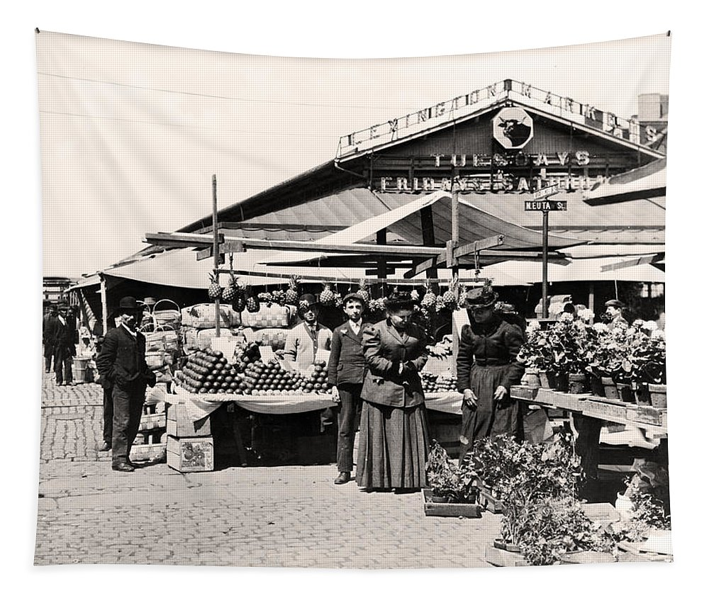 Lexington Tapestry featuring the photograph Lexington Market Baltimore Maryland by Bill Cannon