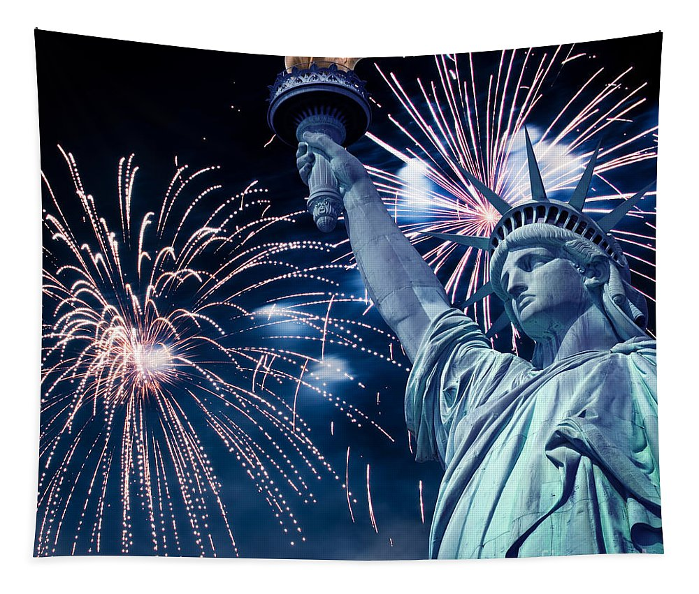 Statue Of Liberty Tapestry featuring the photograph Liberty Fireworks by Delphimages Photo Creations