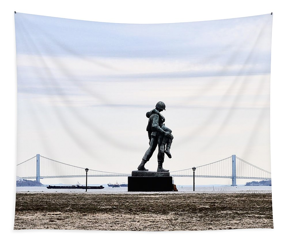 Liberty Tapestry featuring the photograph Liberty State Park War Memorial by Bill Cannon