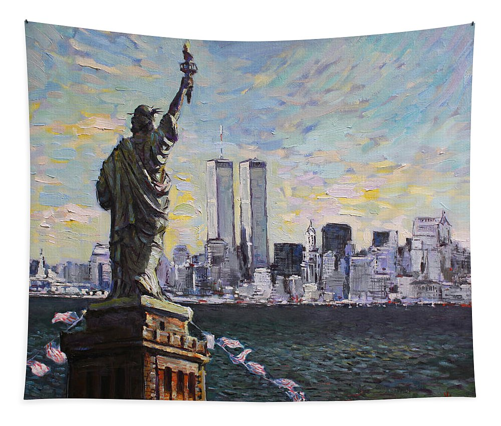New York City Tapestry featuring the painting Liberty by Ylli Haruni
