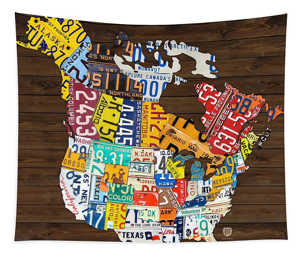 Map Of North America 50 States.License Plate Map Of North America Canada And United States Tapestry