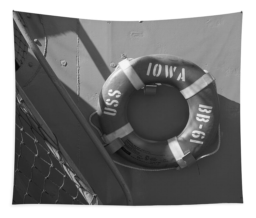 Uss Iowa Tapestry featuring the photograph Life Ring Uss Iowa Battleship Bw by Thomas Woolworth