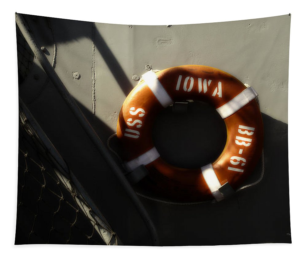 Uss Iowa Tapestry featuring the photograph Life Ring Uss Iowa Battleship Sepia by Thomas Woolworth