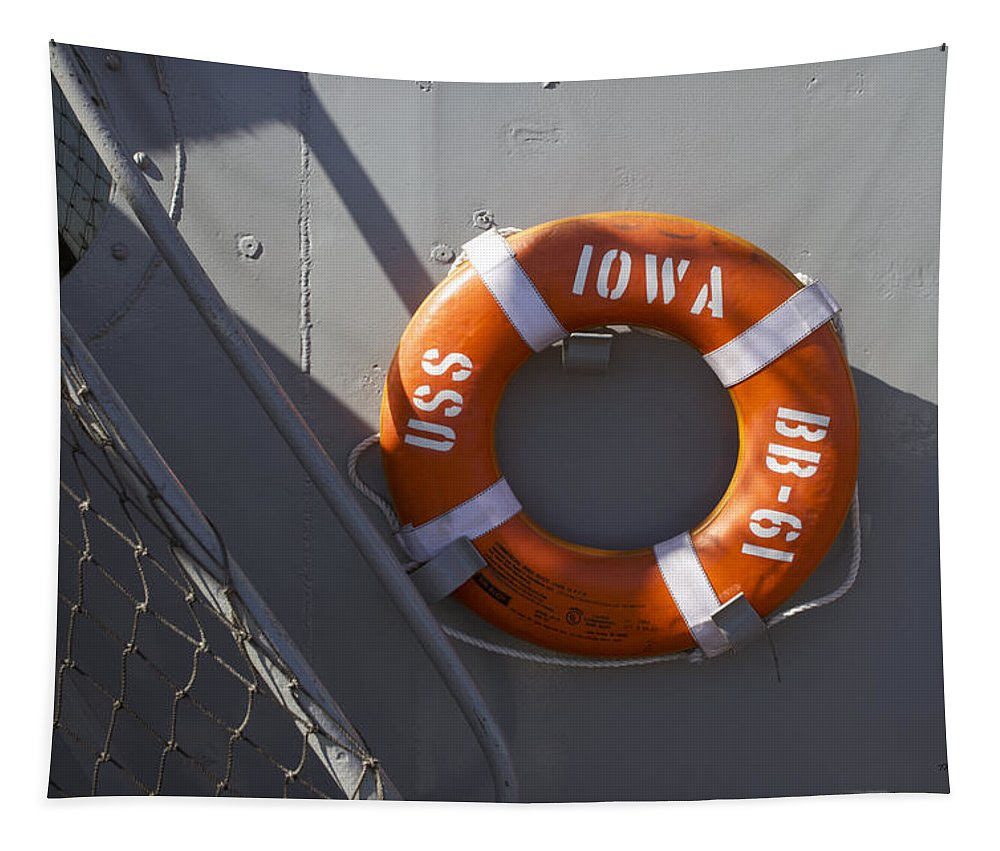 Uss Iowa Tapestry featuring the photograph Life Ring Uss Iowa Battleship by Thomas Woolworth