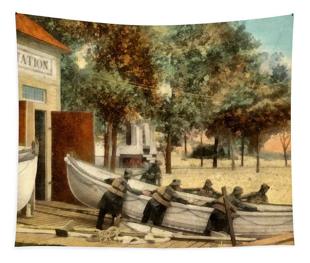 Life Saving Station Tapestry featuring the digital art Life Saving Station by Michelle Calkins