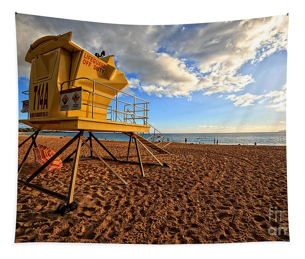 Shack Tapestry featuring the photograph Lifeguard Off Duty Maui Hawaii by Edward Fielding