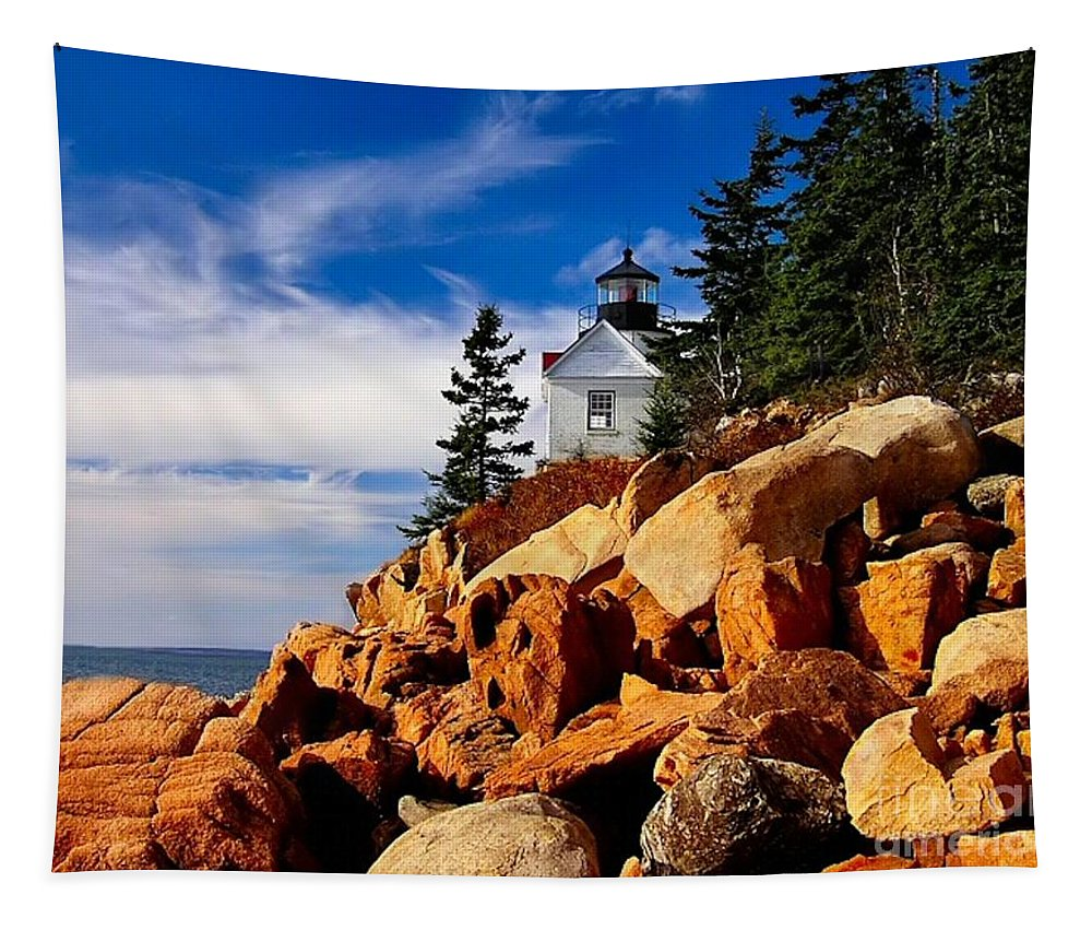 Lighthouse Tapestry featuring the photograph Light At Bass Harbor by Nick Zelinsky
