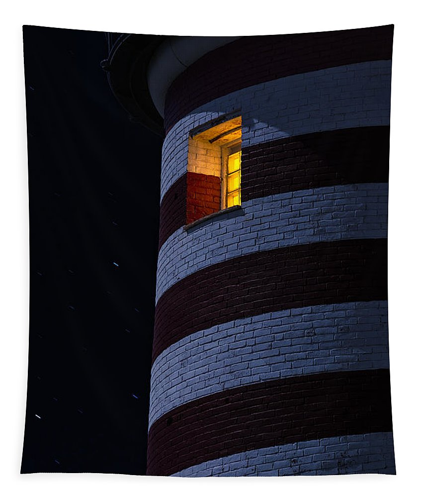 Lighthouse Tapestry featuring the photograph Light From Within by Marty Saccone
