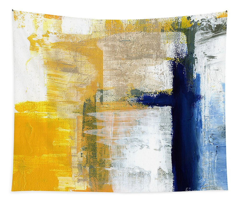 Abstract Tapestry featuring the painting Light Of Day 3 by Linda Woods