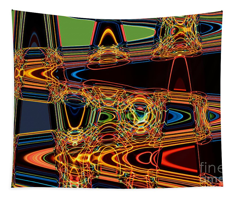 Abstract Tapestry featuring the digital art Light Painting 3 by Delphimages Photo Creations