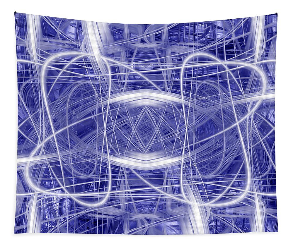 Abstract Tapestry featuring the digital art Light Trails 1 by Steve Ball