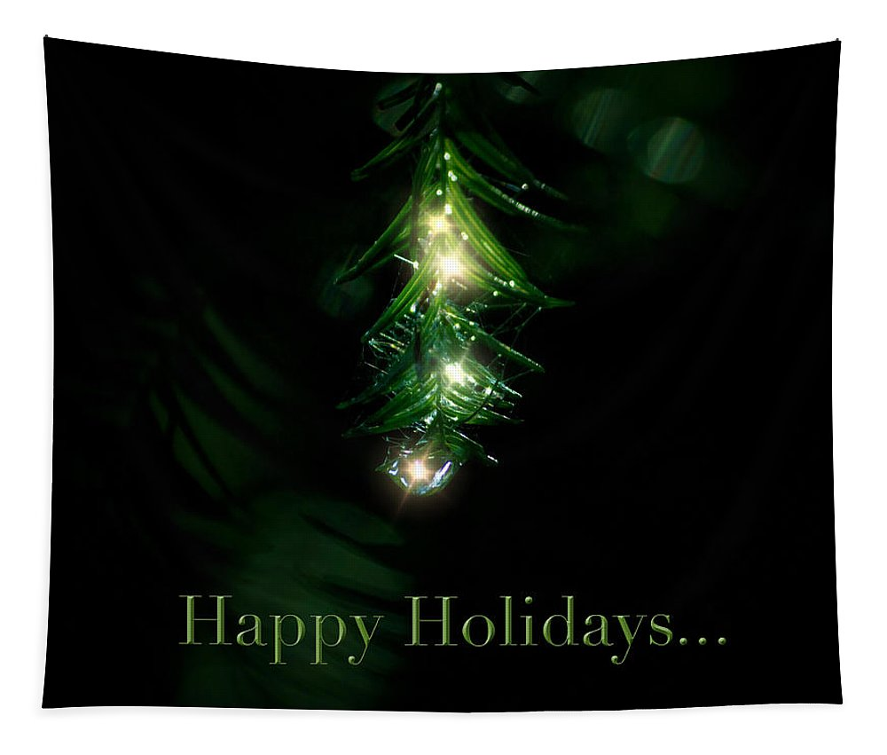 Christmas Tapestry featuring the photograph Lighted Dewdrops Holiday Greeting Card by Mark Andrew Thomas