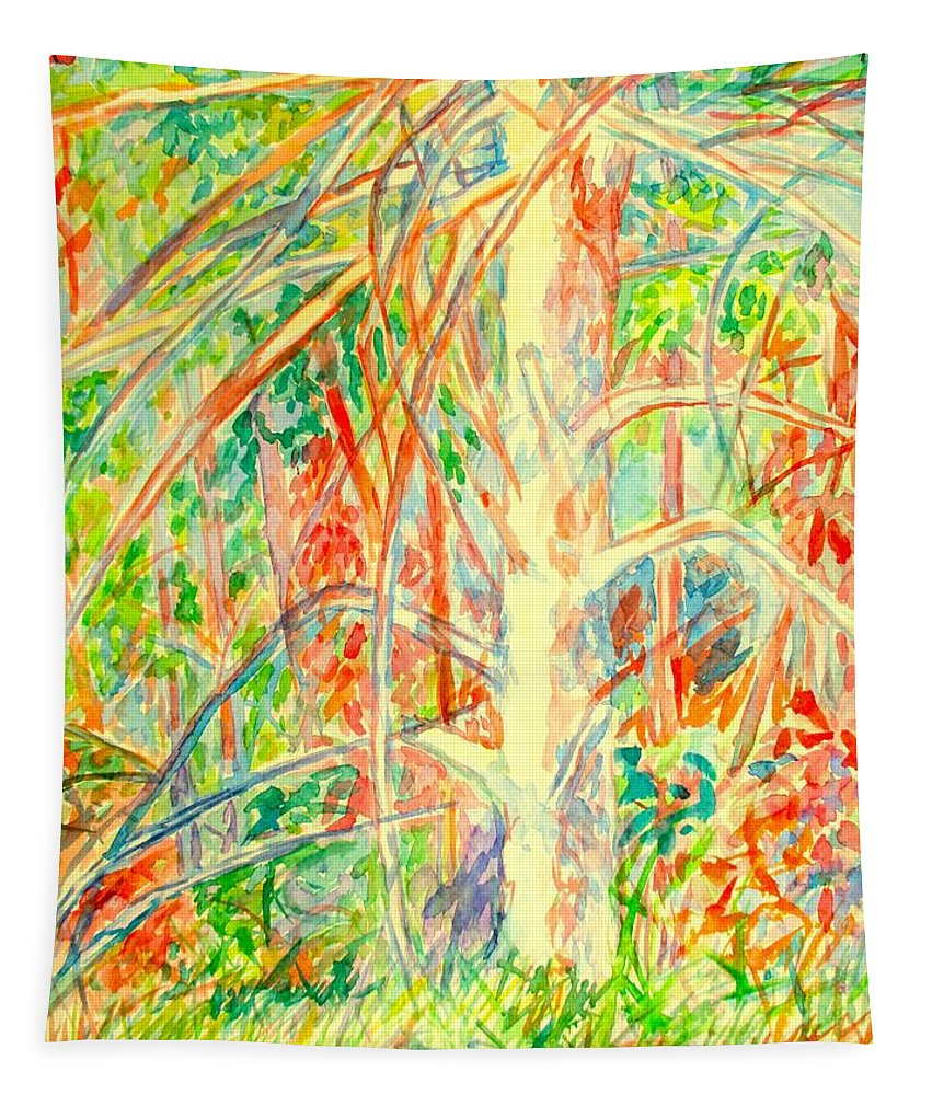 Tree Tapestry featuring the painting Lightening Struck Tree Again by Kendall Kessler