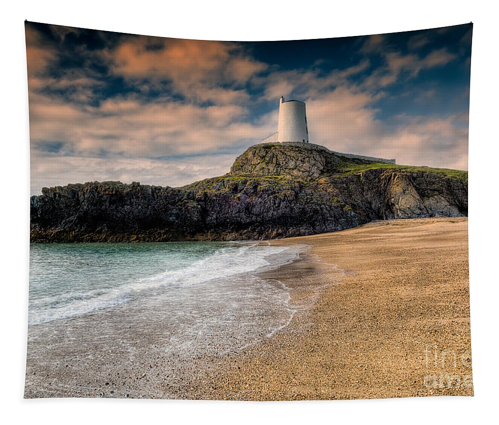 Anglesey Tapestry featuring the photograph Lighthouse Beach by Adrian Evans